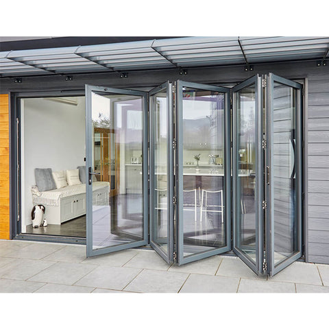 double glass folding exterior french doors modern aluminium soundproof vertical folding doors