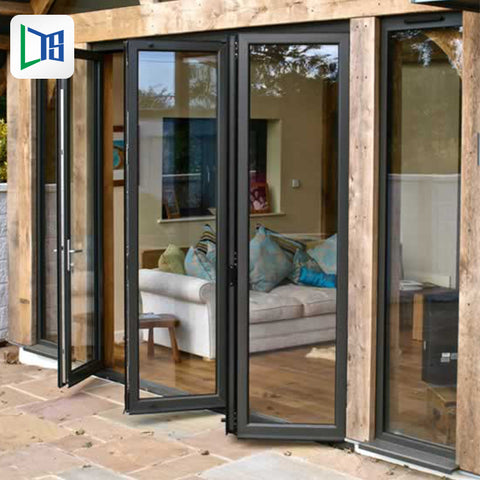 Aluminum patio / balcony double glass exterior accordion folding door Folding glass balcony aluminium bifold doors
