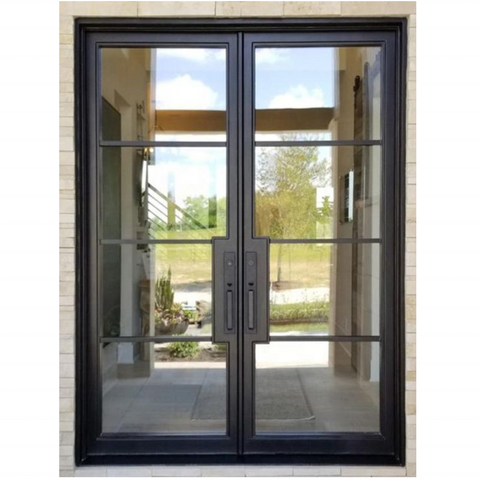 Double Glazing Carbon Steel Soundproof Used Exterior French Doors For Sale