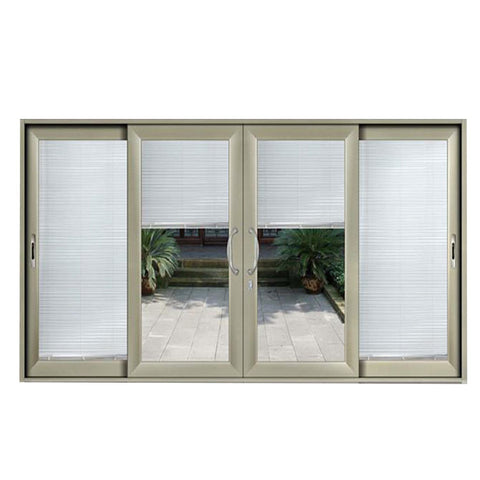 High End White Composite Aluminum Upvc/Pvc Sliding Patio Door With Low-E Built In Blinds on China WDMA
