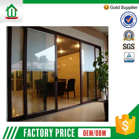 High grade electric control sliding glass door with blinds on China WDMA