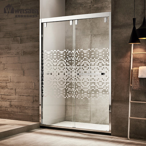 High quality stainless steel frame tempered glass sliding door shower room 3 panel sliding shower door on China WDMA