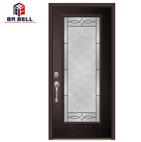 High quality timber frame kitchen patio double black entry doors swing single tempered craft glass door exterior on China WDMA