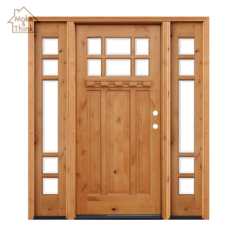 High quality villa front exterior entry solid wood glass garden door on China WDMA