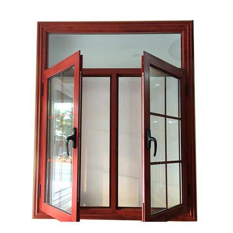 High quality wooden color German brand hardware Aluminum casement window & door double glazed windows on China WDMA