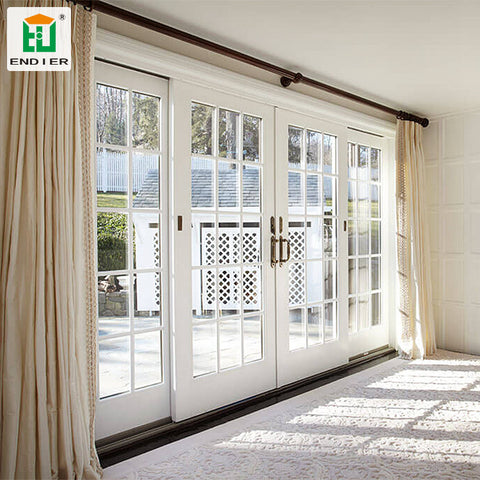 Home Interior french 4 panel patio sliding doors for balcony double glass sliding door with grills on China WDMA
