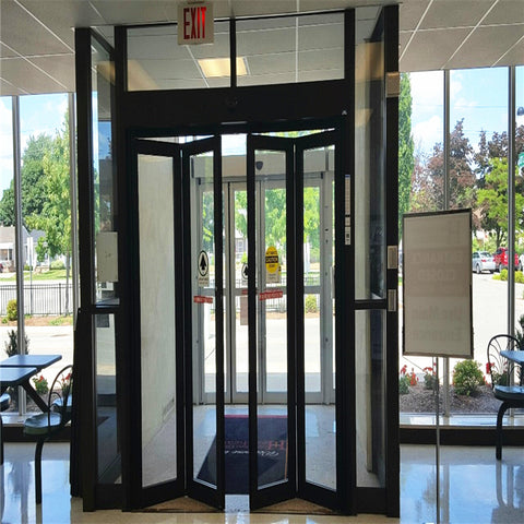 Horizontal Balcony Glass Accordion Aluminum Bi Folding Door on China WDMA