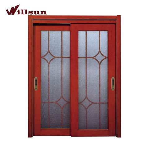 Hot!Hot Sale! Double Leaf Wood Glass Entry Patio Door Sliding Opening Door Exterior Double Doors on China WDMA
