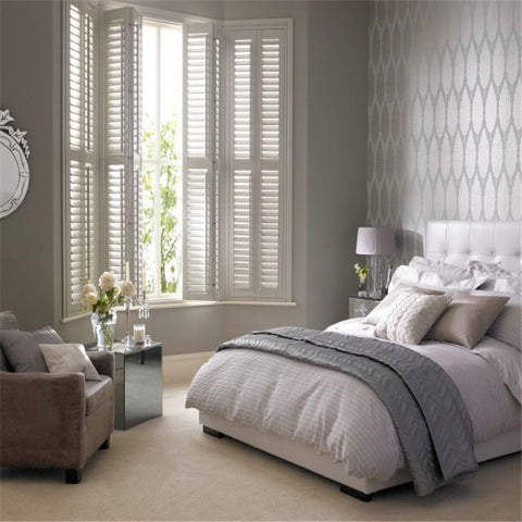 Hot Sale Prue white color interior solid wood window shutter on China WDMA