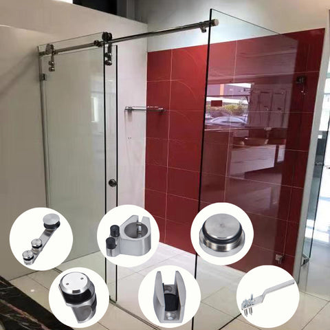 Hot sale stainless steel glass barn sliding door wheels systems hardware for bathroom on China WDMA