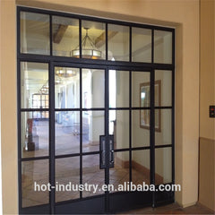 Hot selling decorative wrought iron door with latest french steel window grill design cheap steel glass windows on China WDMA