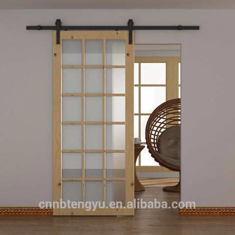 Hotel Home Solid Wood Frame Mirrored Barn Door / Frosted Tempered Glass Sliding Door with Hardware Track Kit on China WDMA
