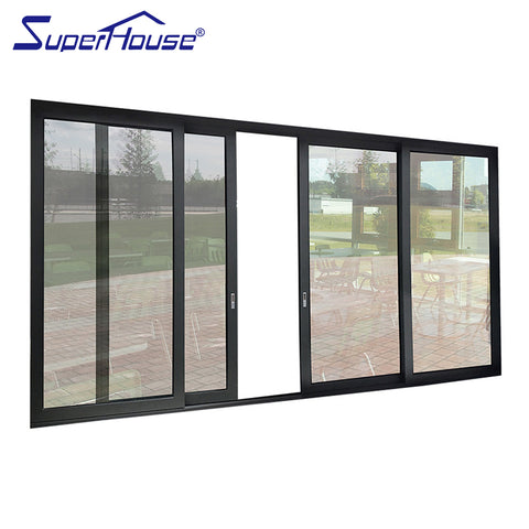 Hurricane proof CSA/NFRC/ NOA and AS2047 standard double toughened glass Thermal break double glass 4 panel sliding door on China WDMA