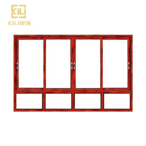 In stock Good price philippines bottom fixed panel vintage wooden double glazed sliding aluminum profile window on China WDMA