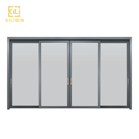 In stock Nigeria doors and windows price double glass 3 pane black aluminium extrusion profile sliding window with fly screen on China WDMA