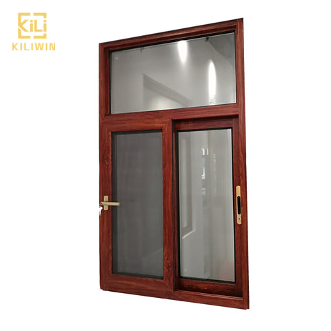 In stock foshan made wooden windows designs pakistan unbreakable glass aluminum transom frame sliding window with mosquito net on China WDMA