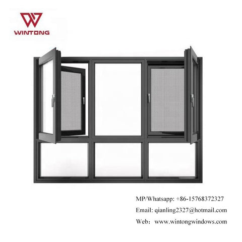 Insulated Aluminum Frame Large Glass Louver Window Fixed Windows With Shutter Commercial Glass on China WDMA