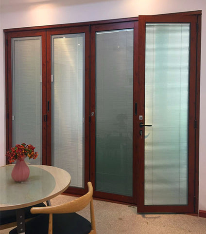 Interior aluminium cheap folding glass door with inside blinds for house on China WDMA