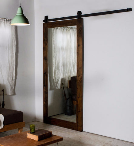 Interior room partitions sliding Mirrored 4 Panel Barn Door with Door Hardware on China WDMA