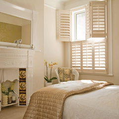 Interior wooden door window plantation shutter with blinds on China WDMA