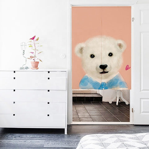 Japanese Noren Doorway Curtain Wall Hanging Tapestry Screens & Room Dividers Printed Cute Animal Pattern on Cotton Linen on China WDMA