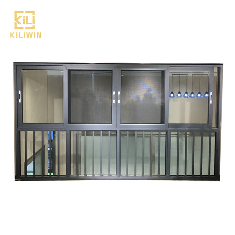 Kiliwin bottom fixed glass panels grey finish single aluminum sliding window frame price philippines on China WDMA