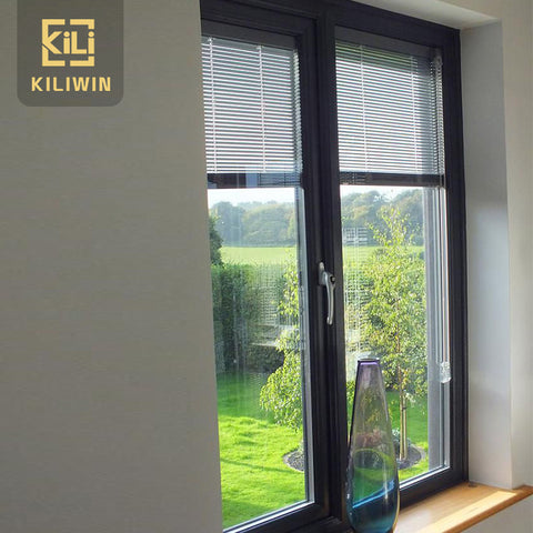 Kiliwin cheap house aluminium double glass louvered windows with built in blinds for sale on China WDMA