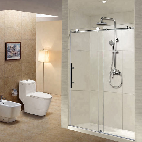 Kinmade Stainless Steel Frameless Glass Sliding Shower doors Bathroom Screen on China WDMA