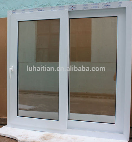 LZ upvc frame glass sliding window with mosquito screen net cheap project windows pvc china supplier on China WDMA