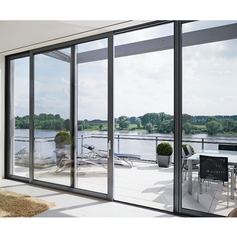 Large double glazed tempered aluminum door glass floor to ceiling windows and sliding doors on China WDMA