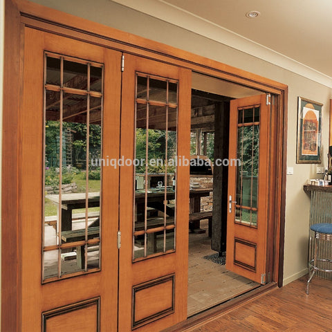 Lobby Entrance Door, Wood Patio Sliding French Folding Door With Clear Frosted Tempered Glass Panel on China WDMA