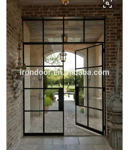 Low-E glass glazed steel iron French interior door on China WDMA
