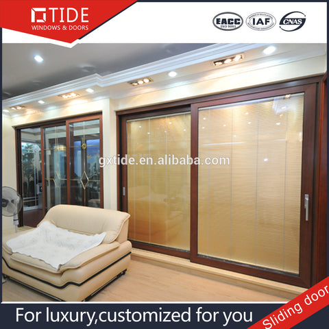 Luxury aluminum and wood door design half of the French style door on China WDMA