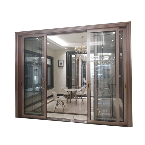 Luxury heavy duty double glazing 3 panel 4 panel triple tracks Thailand aluminum sliding glass door on China WDMA