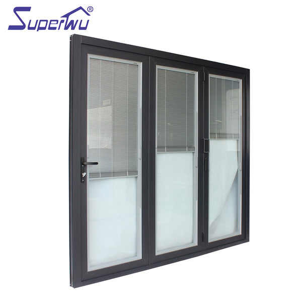 Miami-Dade County Approved Hurricane Certification Built-in shutter aluminium frame folding door for living room on China WDMA
