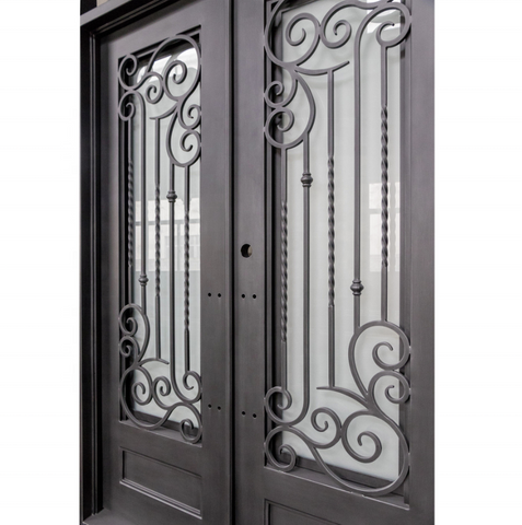 Modern Design 12 Gauge Steel Wrought Iron Safety Door with Open Window Fly Screen on China WDMA