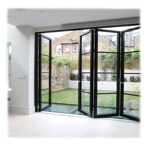 Modern Design Exterior Balcony Flexible Track Aluminum Glass 3 Panel Sliding Bifold Patio Door on China WDMA