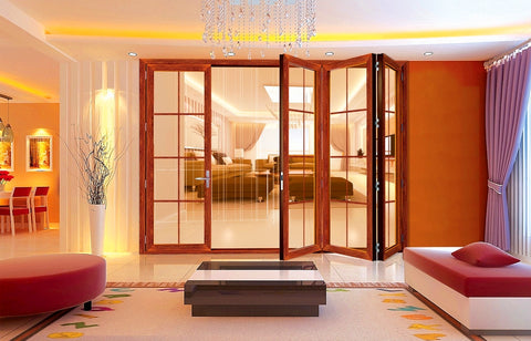 Modern Glass Concertina French Aluminum Front Folding Door for hotel and villa on China WDMA