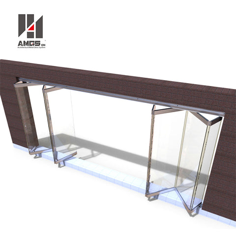 Modern Interior Or Exterior s Bi Design Gate, Save Space Partition Frosted Frameless Tempered Glass Slid Ing Folding Door on China WDMA