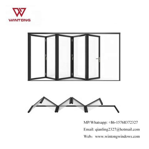 Modern Shoundproof Exterior French Folding Door And Wooden Color Aluminum Patio Bifold Doors With Transparent Accordion on China WDMA