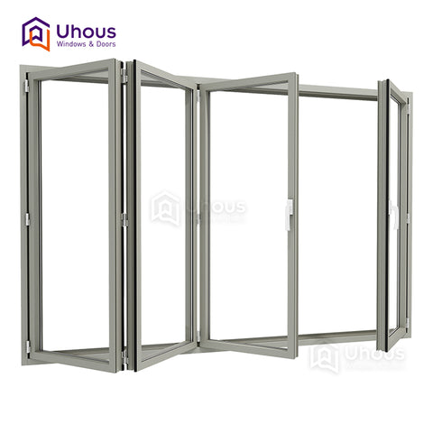 Modern design double glass folding window accordion windows cost on China WDMA