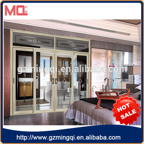 Modern design interior aluminum double pane sliding glass doors on China WDMA