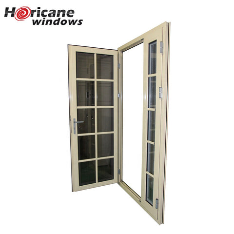 Modern residential large aluminum double hinged patio security doors with built in blinds on China WDMA