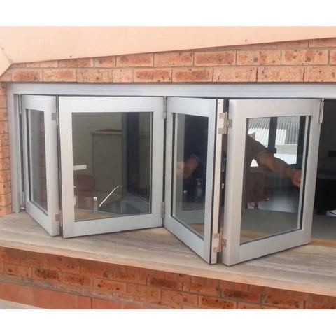 Multi panels locking systems double glazed Australia design aluminum folding / Bi Fold window on China WDMA