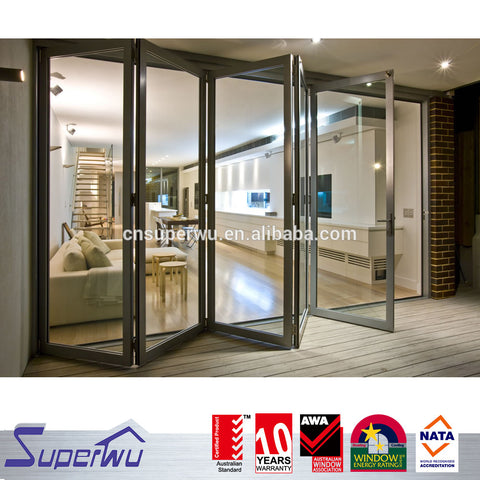 NFRC Canada standard commercial powder coating aluminum glass bi fold door with insert blinds and grids on China WDMA