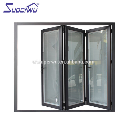 NFRC north American standard commercial thermal broken powder coating aluminum glass bi fold door with built in blinds on China WDMA