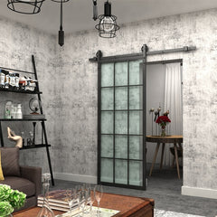 New French Style Black Frame Sliding Barn Door with Hardware Track Kit on China WDMA