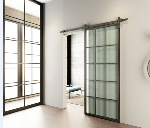 New design custom black metal frame glass sliding barn door wholesale on China WDMA