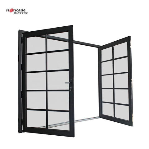 New design factory price modern entry black powder coated exterior glass aluminium double door for sale on China WDMA