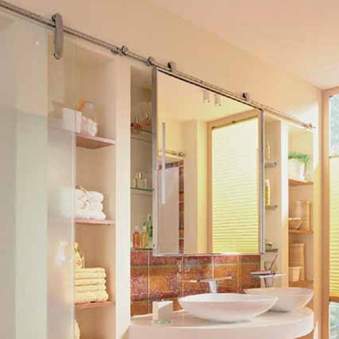 New designs sliding glass door with stainless steel barn door hardware on China WDMA